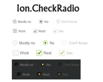 Ion.CheckRadio – jQuery Plugin for Styling CheckBoxes and RadioButtons