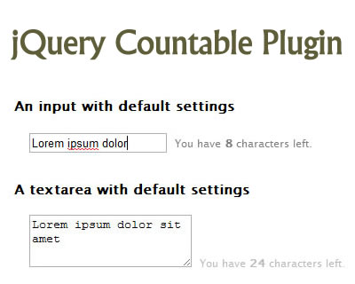 jQuery Countable Plugin