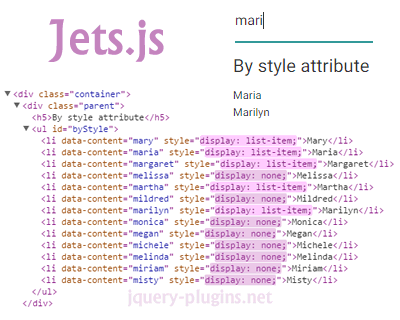 Jets js – Native CSS Search Engine | jQuery Plugins