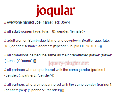 joqular – JavaScript Object Query Language Representation