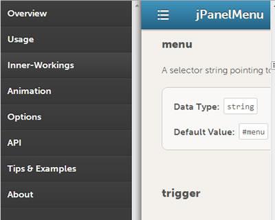 jPanelMenu – Paneled Style Menu Like Mobile Facebook & Google