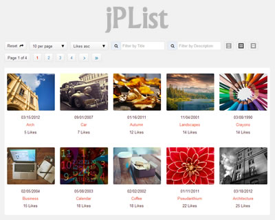 jPList – jQuery Plugin for Sorting, Pagination and Filtering Any HTML Structure