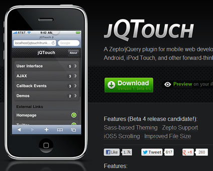 jQTouch – jQuery Plugin for Mobile Web Development