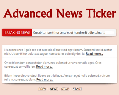 jQuery Advanced News Ticker