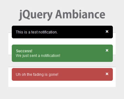 jQuery Ambiance Notification Plugin