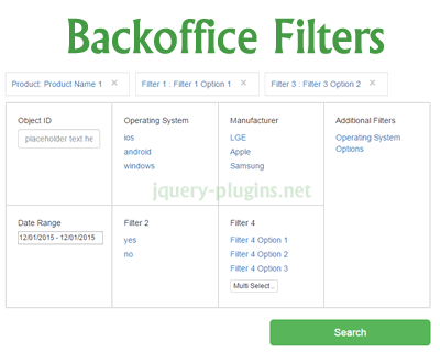 jQuery Backoffice Filters