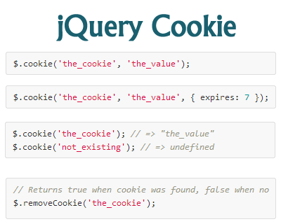 jQuery Cookie – jQuery Plugin for Reading, Writing and Deleting Cookies