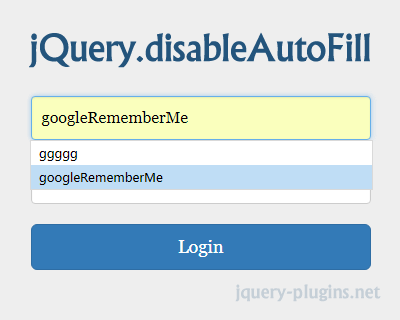 jQuery Disable Auto Fill Plugin