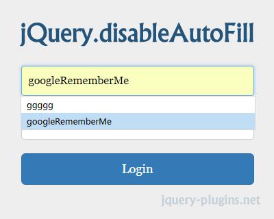 jQuery Disable Auto Fill Plugin