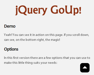 jQuery GoUp! – jQuery Scroll to Top Plugin