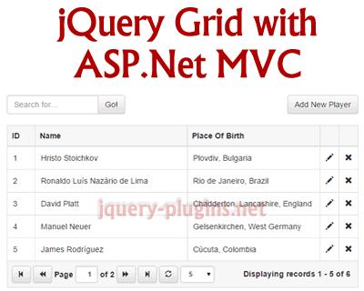 jQuery Grid With ASP.Net MVC