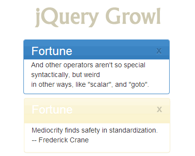 jQuery Growl – Growl Like Notification Plugin for jQuery