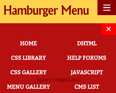 jQuery Hamburger Icon Menu