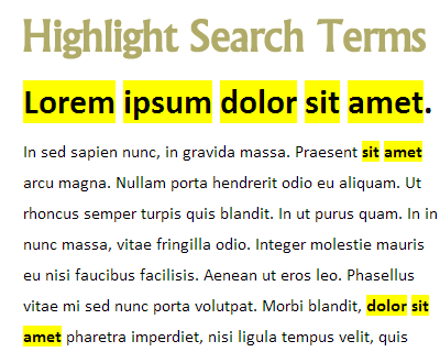jQuery Highlight Search Terms Plugin