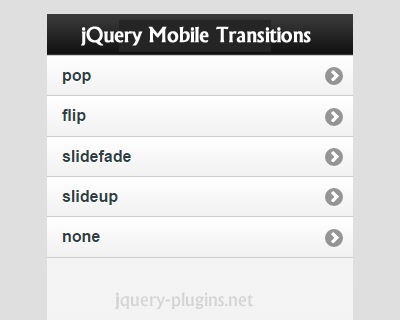 jQuery Mobile Transitions