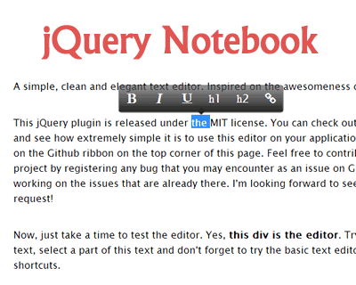 jQuery Notebook – Simple and Elegant WYSIWYG Rich Text Editor