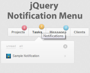 jQuery Notification Menu