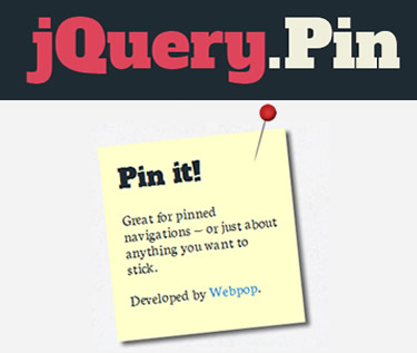 jQuery Pin – jQuery Plugin to Create Sticky Elements