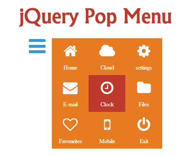 jQuery Pop Menu – Simple Responsive Popup Menu