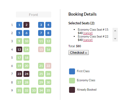 jQuery Seat Charts Plugin