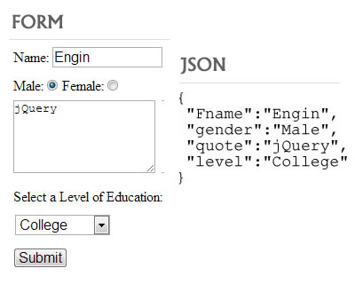 jQuery serializeObject – Encode Form Elements as a JSON