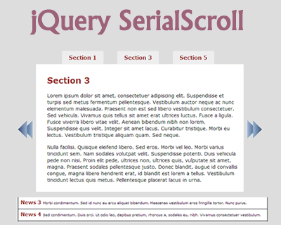 jQuery SerialScroll – jQuery Plugin to Animate Series of Items
