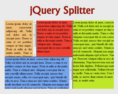 jQuery Splitter Plugin
