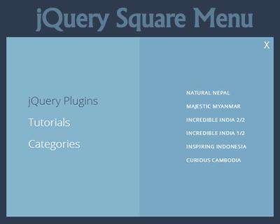 jQuery Square Menu