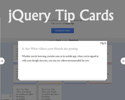 jQuery Tip Cards