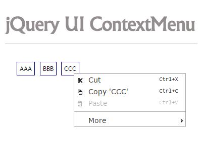 jQuery UI Context Menu