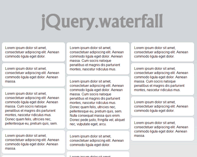 jQuery.waterfall – Pinterest Like Waterfall Layout jQuery Plugin