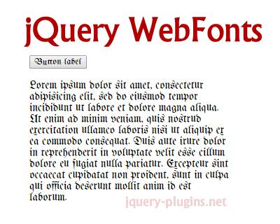 jQuery WebFonts – jQuery Based WebFonts Library
