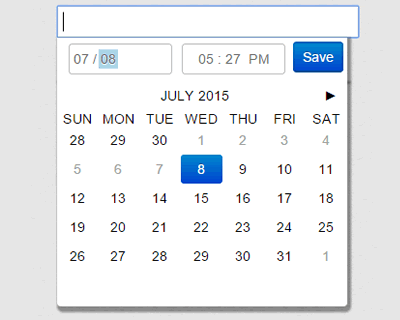 jQuery.filthypillow – Fancy and Small Calendar & Date-time Picker