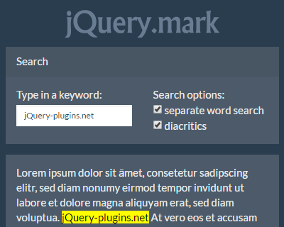 jQuery.mark – jQuery Keyword Highlighting