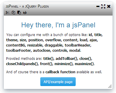 jsPanel – jQuery Plugin for MultiFunctional Floating Panels