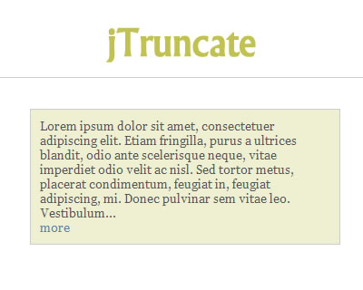 jTruncate - Text Truncation for jQuery