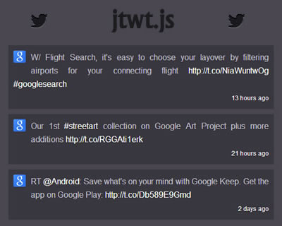 jtwt.js – jQuery Plugin for Twitter JSON API