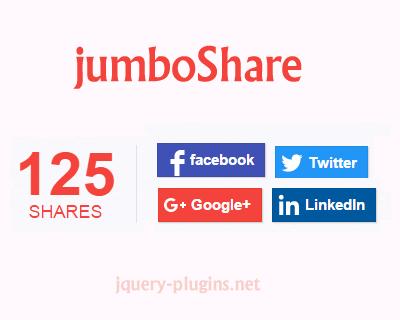jumboShare – Social Share Buttons with Counter | jQuery Plugins
