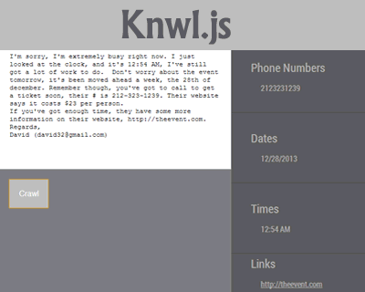 Knwl.js – Scan Through Text for Data of Interest