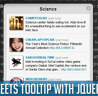 Latest Tweets Tooltip with jQuery