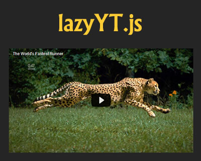 lazyYT.js – jQuery Plugin to Lazy Load Youtube Iframe Videos