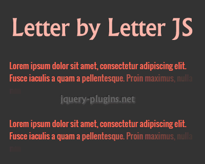 Letter by Letter JS – jQuery Plugin for Typing / Letter by Letter Effect