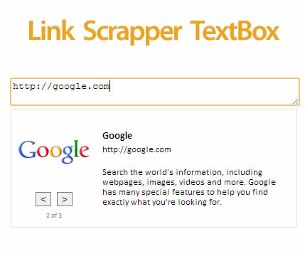 Link Scrapper TextBox jQuery Plugin
