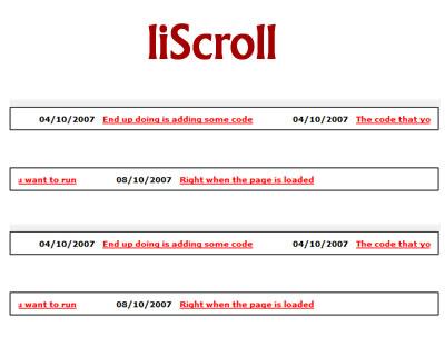 liScroll – jQuery Scrolling News Ticker