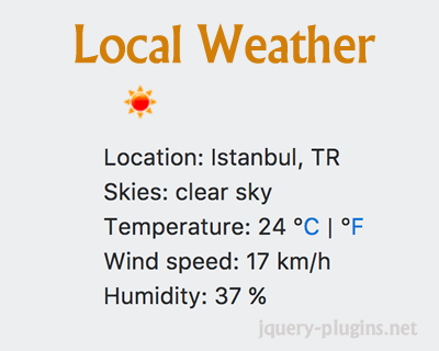 Local Weather App with jQuery and OpenWeatherMap