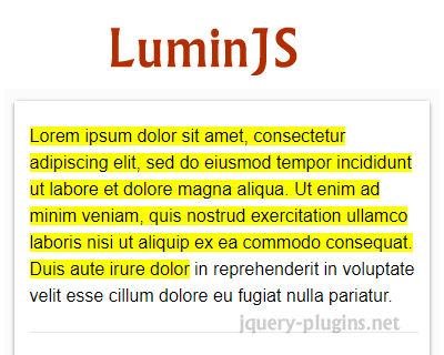 LuminJS – JavaScript Library to Progressively Highlight Text on Page