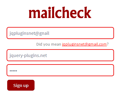 mailcheck –  Reduce User-Misspelled Email Addresses in Your Forms