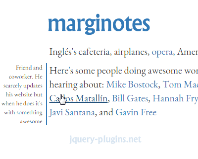 marginotes – Quick, Cool Margin Notes with jQuery