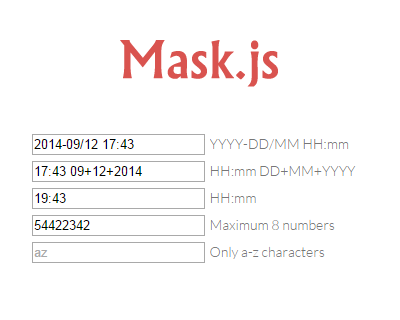 Mask.js – jQuery Plugin to Mask Inputs