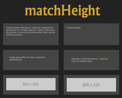 matchHeight – More Robust and Responsive Equal Heights Plugin for jQuery